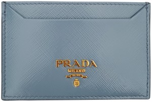 Prada Prada Saffiano Slate Blue Leather Card Case Holder