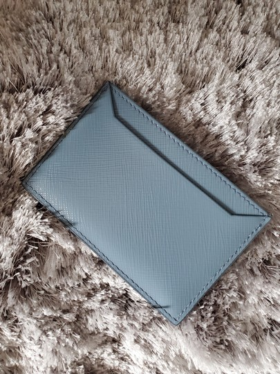 Prada Prada Saffiano Slate Blue Leather Card Case Holder Image 1