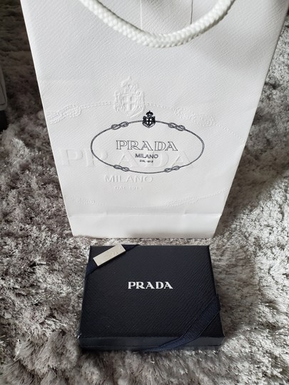 Prada Prada Saffiano Slate Blue Leather Card Case Holder Image 2
