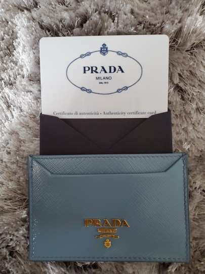 Prada Prada Saffiano Slate Blue Leather Card Case Holder Image 4