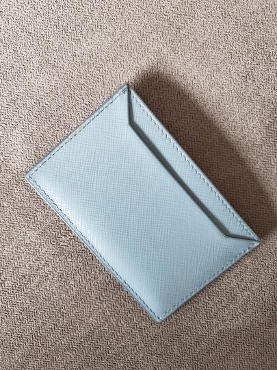 Prada Prada Saffiano Slate Blue Leather Card Case Holder Image 5
