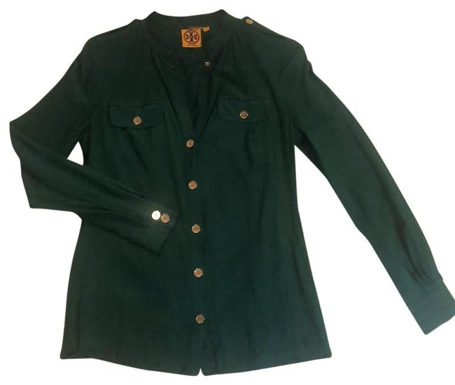 Item - Green Button Down Silk Shirt Blouse Size 2 (XS)