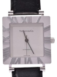 Tiffany & Co. TIFFANY Atlas Square Silver 925 Leather Automatic Mens Watch