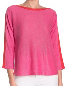 Eileen Fisher 3/4 Sleeve Bateau Neck Organic Linen Two Tone Cool Breathable Sweater