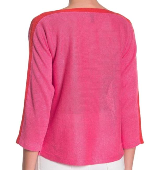 Eileen Fisher 3/4 Sleeve Bateau Neck Organic Linen Two Tone Cool Breathable Sweater Image 1