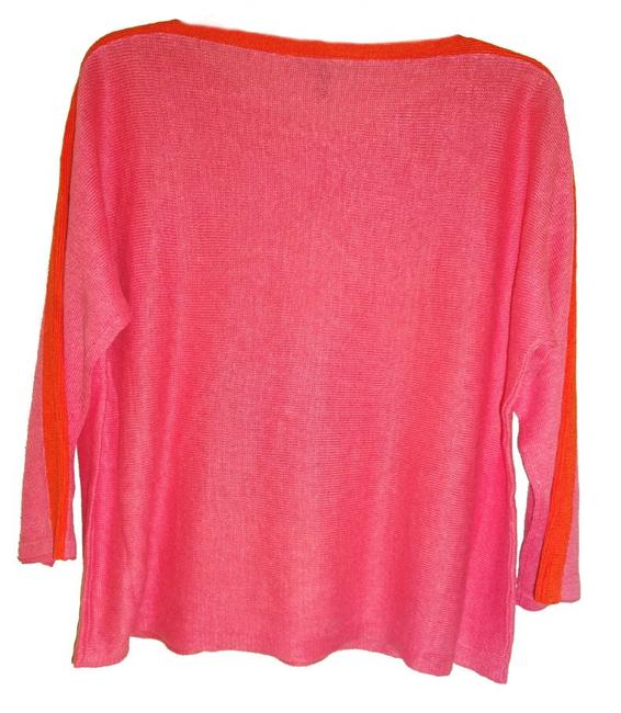 Eileen Fisher 3/4 Sleeve Bateau Neck Organic Linen Two Tone Cool Breathable Sweater Image 3