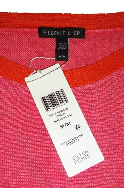 Eileen Fisher 3/4 Sleeve Bateau Neck Organic Linen Two Tone Cool Breathable Sweater Image 4