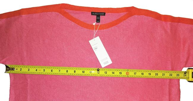 Eileen Fisher 3/4 Sleeve Bateau Neck Organic Linen Two Tone Cool Breathable Sweater Image 5