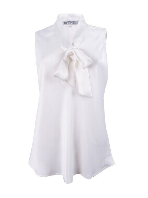 Preload https://img-static.tradesy.com/item/25829727/kasper-white-sleeveless-neck-tie-off-new-blouse-size-22-plus-2x-0-0-650-650.jpg
