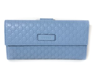 Gucci NEW GUCCI 449393 Leather Microguccissima Continental Wallet, Blue
