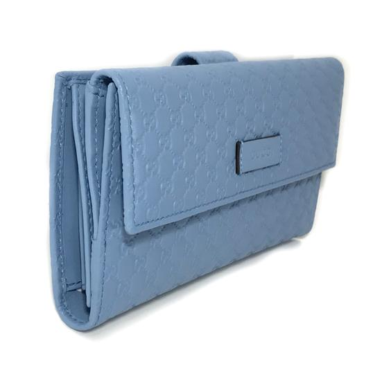 Gucci NEW GUCCI 449393 Leather Microguccissima Continental Wallet, Blue Image 1