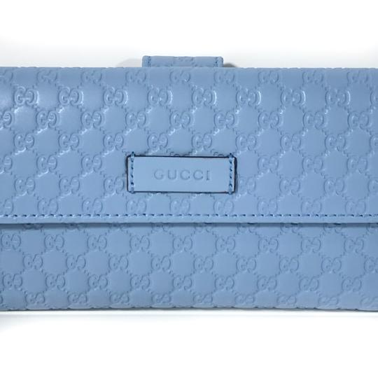 Gucci NEW GUCCI 449393 Leather Microguccissima Continental Wallet, Blue Image 10
