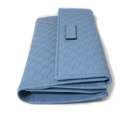 Gucci NEW GUCCI 449393 Leather Microguccissima Continental Wallet, Blue Image 5