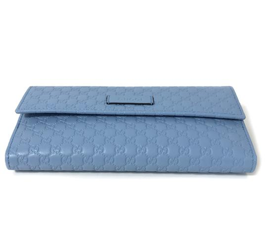 Gucci NEW GUCCI 449393 Leather Microguccissima Continental Wallet, Blue Image 6