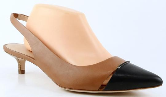 Aerin Slingback Leather Pointed Toe Caramel Black Pumps Image 1