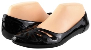 Aerin Cut-out Pointed Toe Patent Leather Black Flats