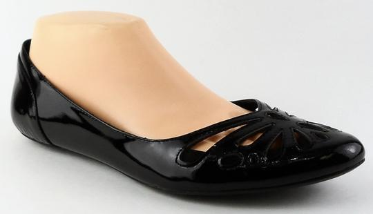 Aerin Cut-out Pointed Toe Patent Leather Black Flats Image 1