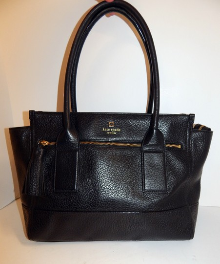 Kate Spade East West Pebbled Leather Tote in Black Image 8