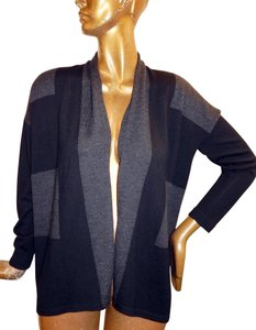 Eileen Fisher Wool Color Sweater Cardigan Knit Black Gray Jacket