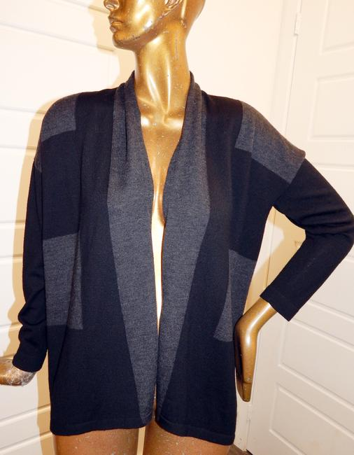 Eileen Fisher Wool Color Sweater Cardigan Knit Black Gray Jacket Image 4