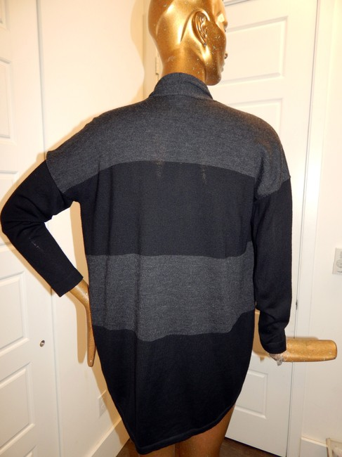 Eileen Fisher Wool Color Sweater Cardigan Knit Black Gray Jacket Image 8