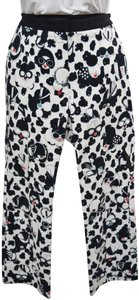 Giles Lady Print Funky High Rise Straight Pants White & Black