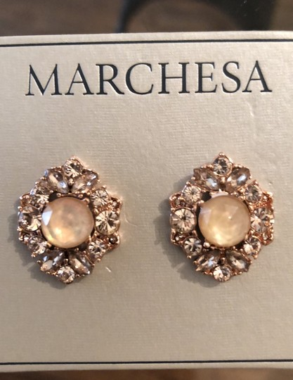 Marchesa ChampagneCrystal Post Earrings Image 4