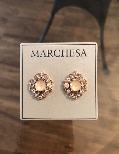 Marchesa ChampagneCrystal Post Earrings Image 6