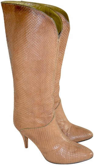 Susan Bennis/Warren Edwards Snakeskin Italian Made In Italy Brown Boots Image 0