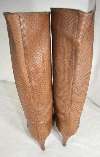 Susan Bennis/Warren Edwards Snakeskin Italian Made In Italy Brown Boots Image 3