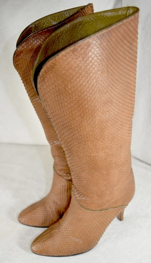 Susan Bennis/Warren Edwards Snakeskin Italian Made In Italy Brown Boots Image 4