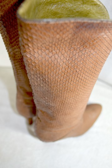 Susan Bennis/Warren Edwards Snakeskin Italian Made In Italy Brown Boots Image 5