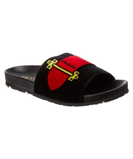 Preload https://img-static.tradesy.com/item/25830049/prada-black-multi-logo-slide-sandals-size-eu-415-approx-us-115-regular-m-b-0-0-540-540.jpg