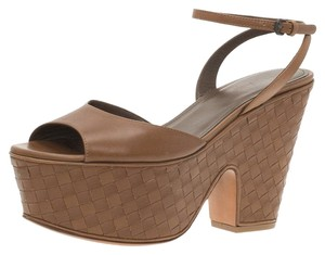 Bottega Veneta Leather Platform Brown Sandals