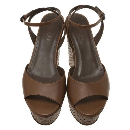 Bottega Veneta Leather Platform Brown Sandals Image 1