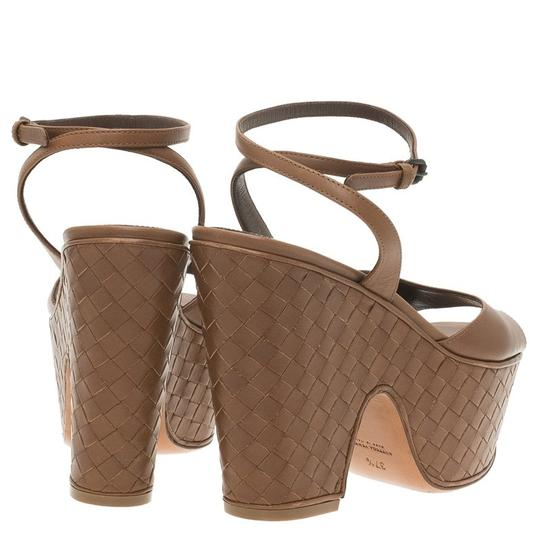 Bottega Veneta Leather Platform Brown Sandals Image 2