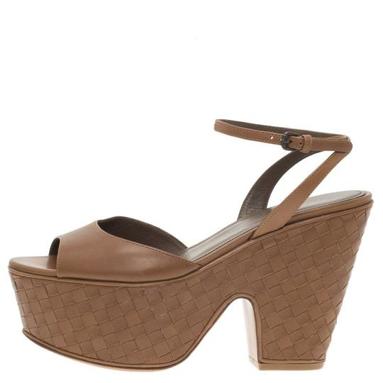 Bottega Veneta Leather Platform Brown Sandals Image 4
