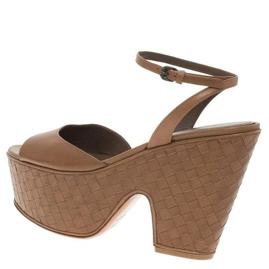 Bottega Veneta Leather Platform Brown Sandals Image 5