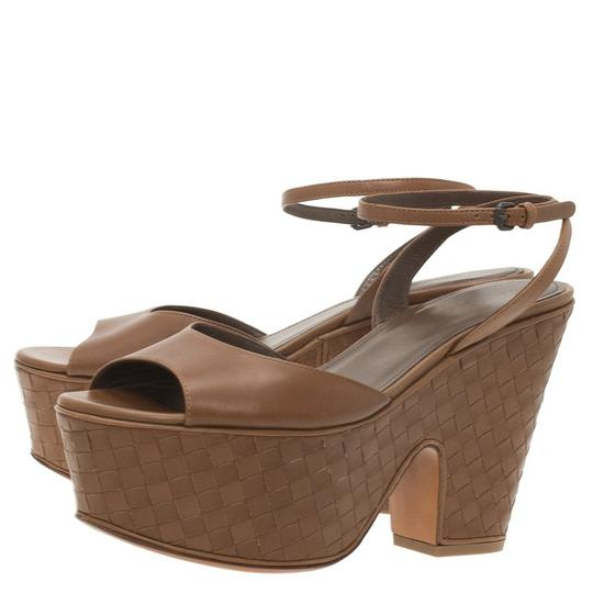 Bottega Veneta Leather Platform Brown Sandals Image 6