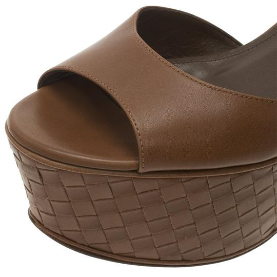 Bottega Veneta Leather Platform Brown Sandals Image 7