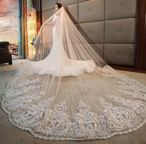 Long 3m 4m 5m 1t White Or Ivorylace Applique Chapel Cathedral with Free Comb White Or Ivory Bridal Veil
