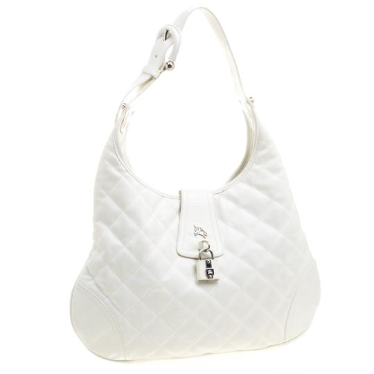 Burberry Leather Fabric Quilted Hobo Bag Image 3