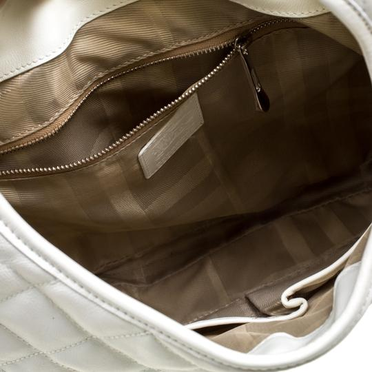 Burberry Leather Fabric Quilted Hobo Bag Image 9