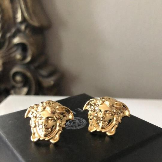 Versace Gold Tone Medusa Stud Medium Size Earrings Image 7