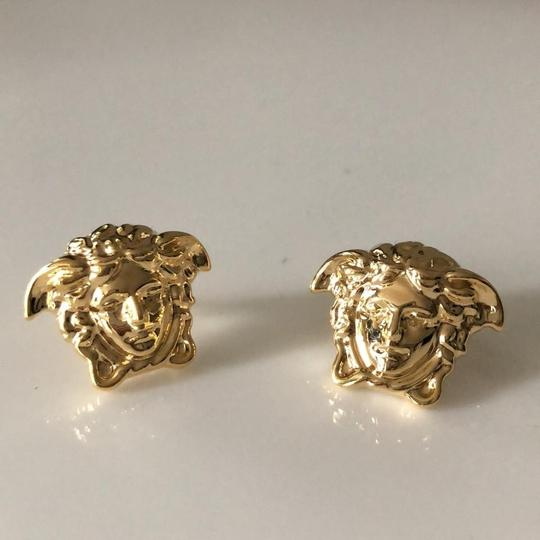 Versace Gold Tone Medusa Stud Medium Size Earrings Image 8