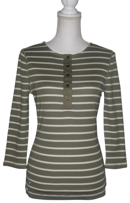 Item - Green/White Striped ¾ Sleeve Button Placket Knit Blouse Size 6 (S)