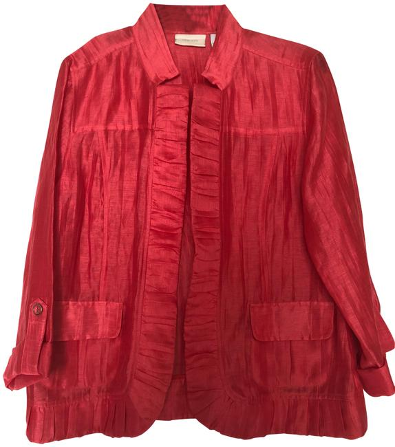 Preload https://img-static.tradesy.com/item/25831111/chico-s-coral-linen-jacket-size-8-m-0-1-650-650.jpg