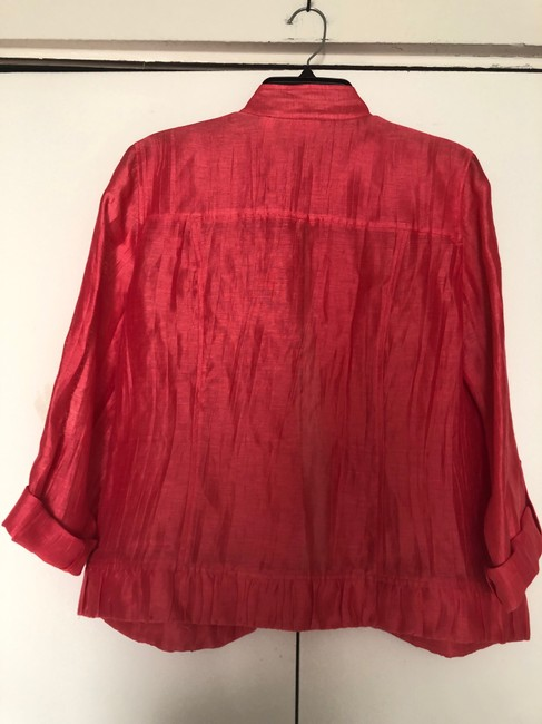Chico's Linen Draped Casual Summer Coral Jacket Image 2