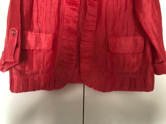 Chico's Linen Draped Casual Summer Coral Jacket Image 3