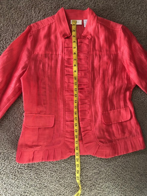 Chico's Linen Draped Casual Summer Coral Jacket Image 5